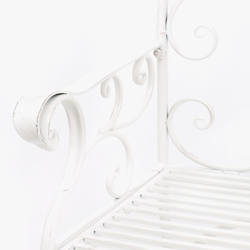 Banco de Jardim Romântico Metal Branco