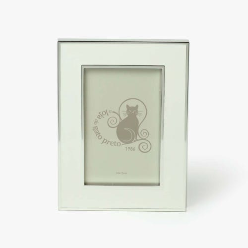 Moldura Lisa Branco e prata 10x15 cm