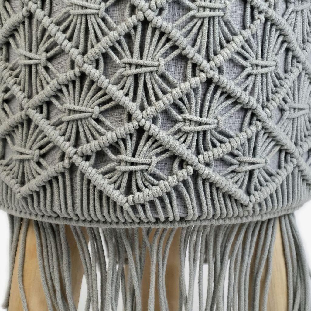 Banqueta Macramé Cinzento 33x45 cm