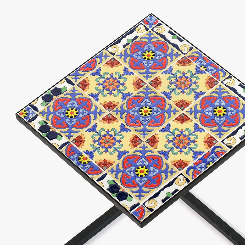 Mesa de Apoio Azulejo Azul 36x36 cm
