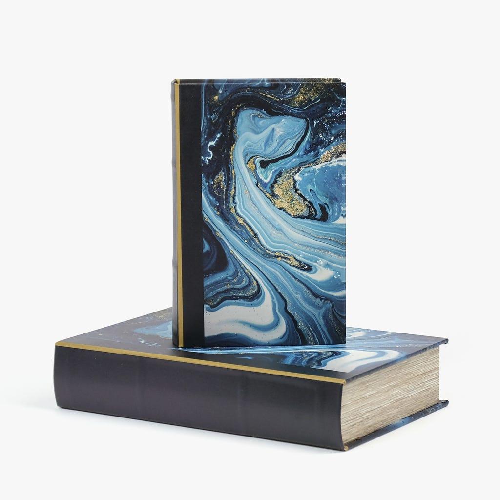 Caixa Livro Abstrata Azul 26x17 cm