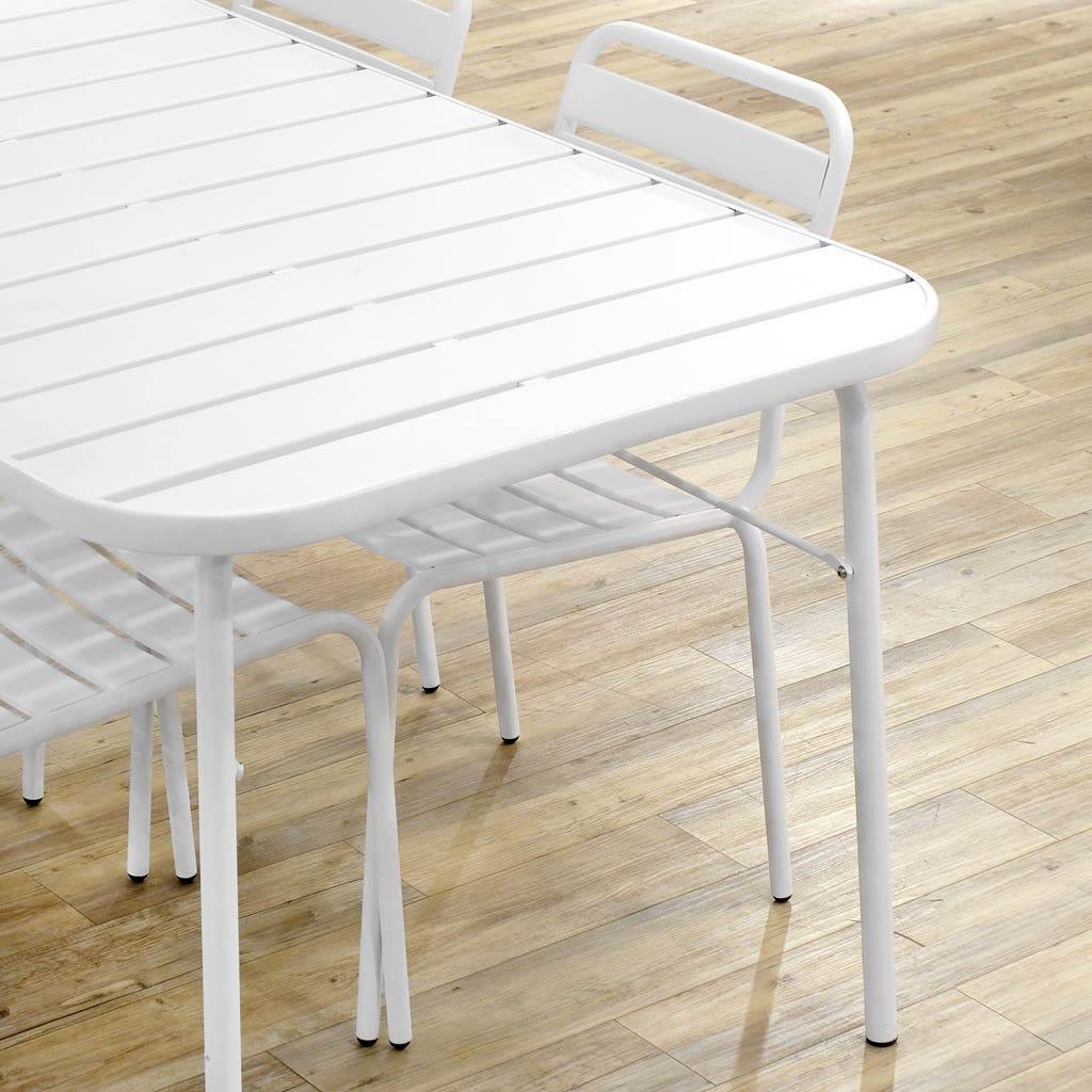 Mesa de Jantar Ripas Branco 160x90 cm