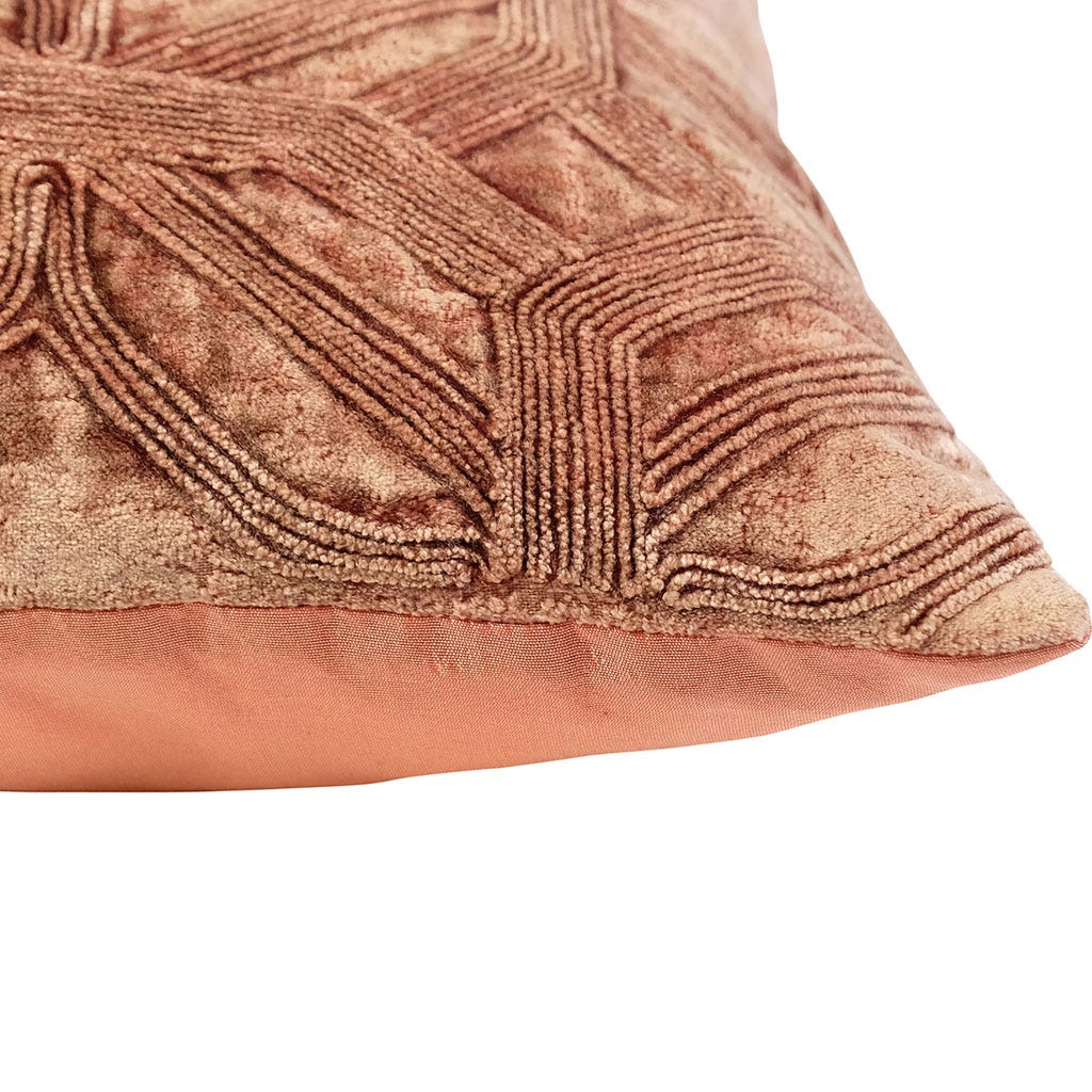 Capa de Almofada Geo Veludo Rosa 45x45 cm