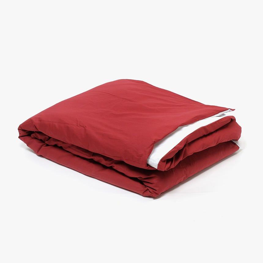 Saco de Edredão Percal Reversível Vermelho/Branco 140x200 cm