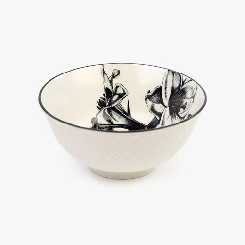 Taça Flor Branco e Preto 15 cm