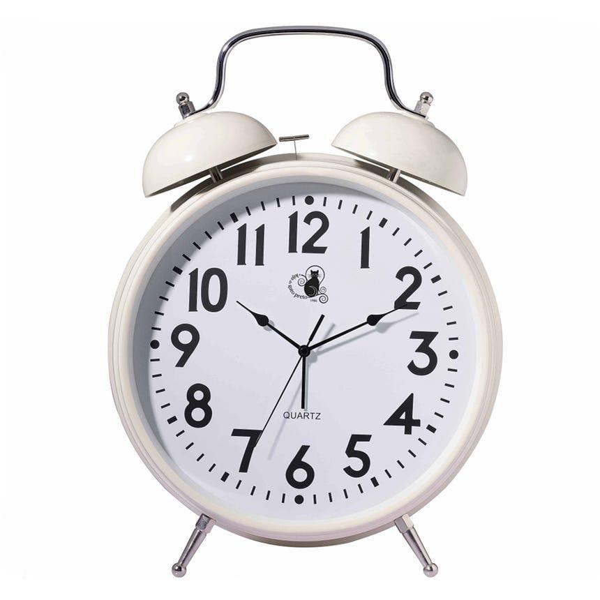 Relógio Despertador Antigo Branco 36x47 cm