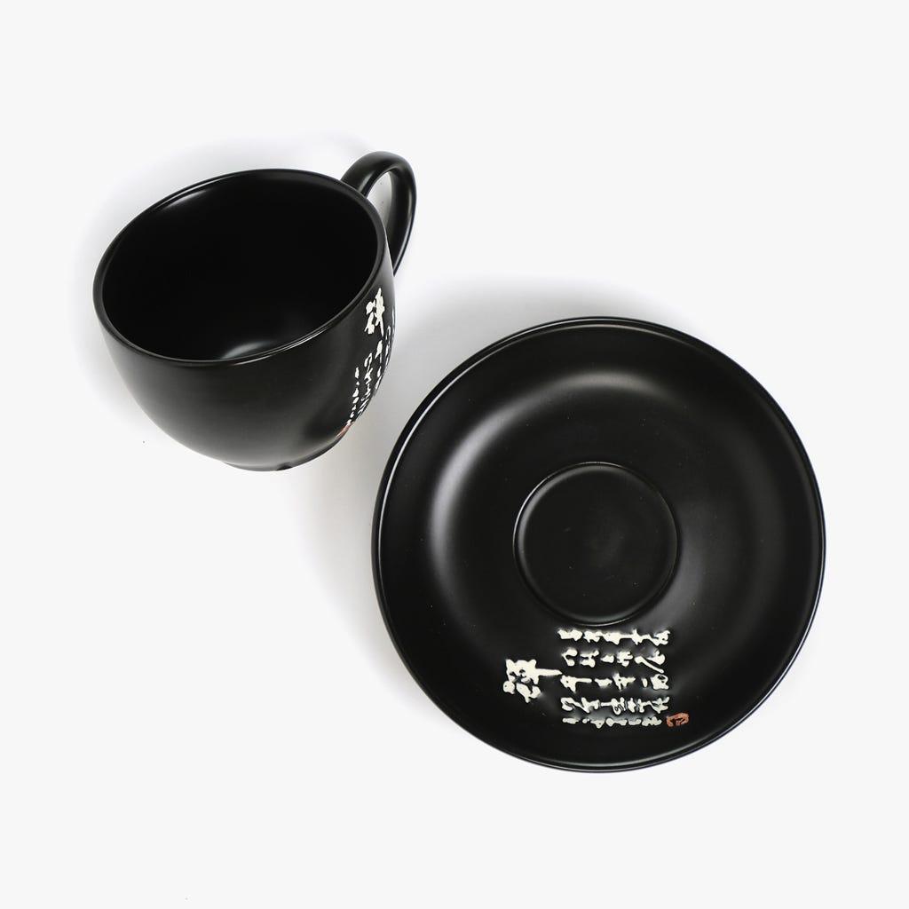 Chávena de Café + Pires Caracteres Preto
