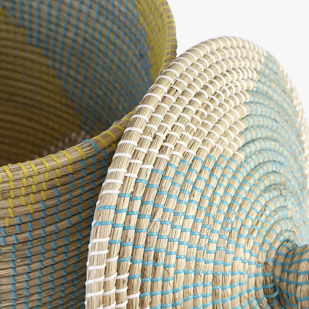Cesto Roupa Azul e Amarelo 45x44 cm