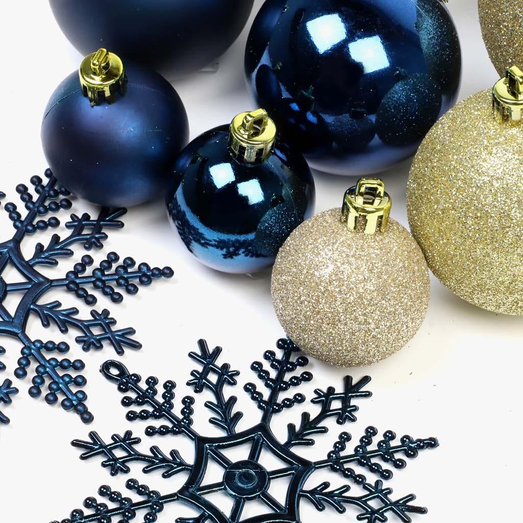 Enfeite de Natal Azul e Dourado (conjunto 68)