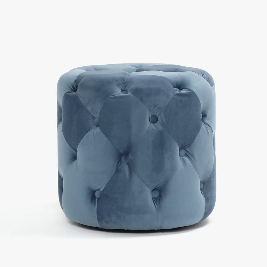Puf Capitoné Azul D:44x44 cm