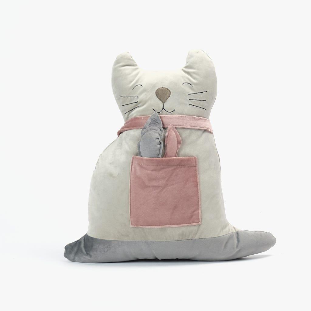 Peluche Gato com Peixe Rosa e bege 43x43 cm