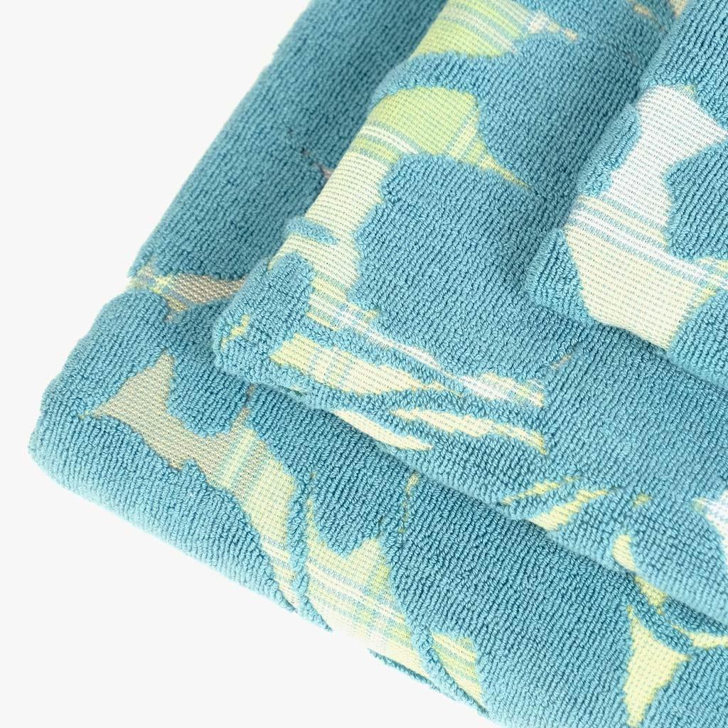 Toalha de Banho Flores/Xadrez Verde 50x90 cm