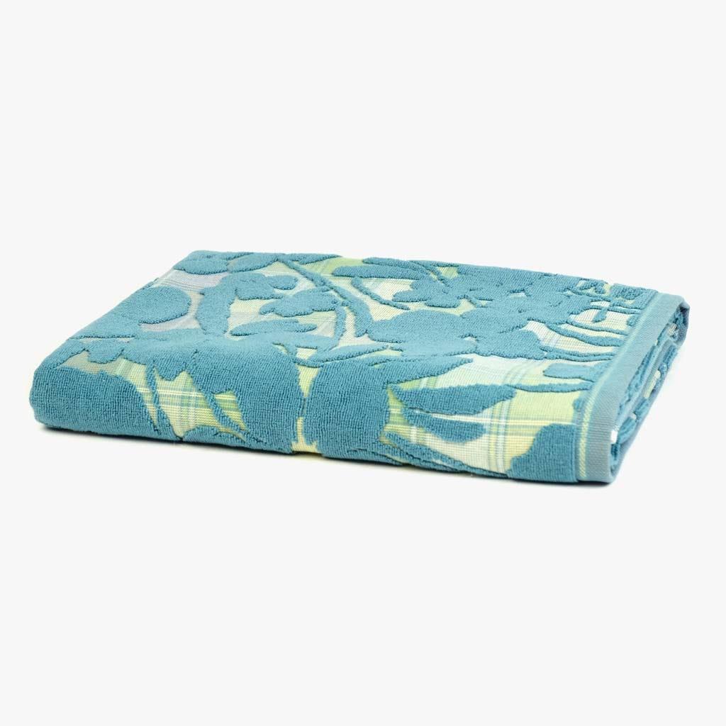 Toalha de Banho Flores/Xadrez Verde 90x150 cm