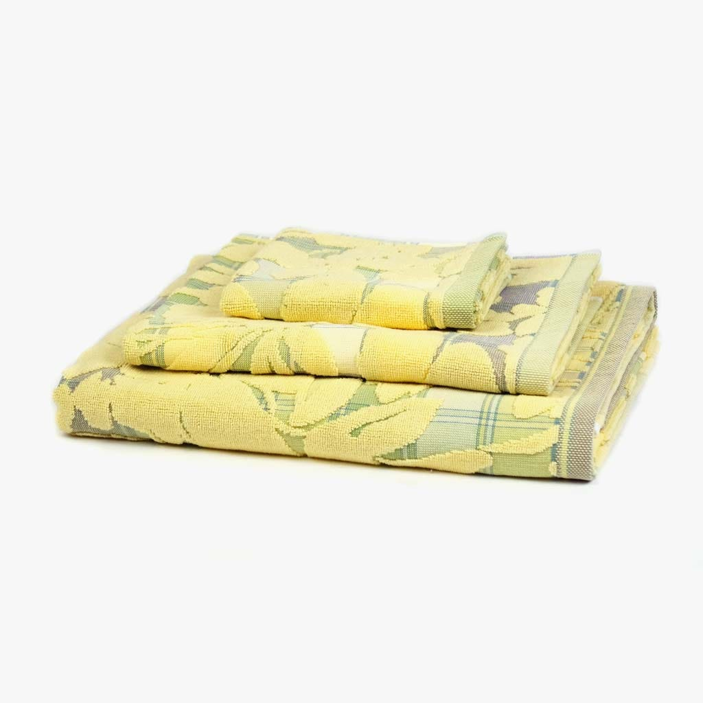 Toalha de Banho Flores/Xadrez Amarelo 30x50 cm