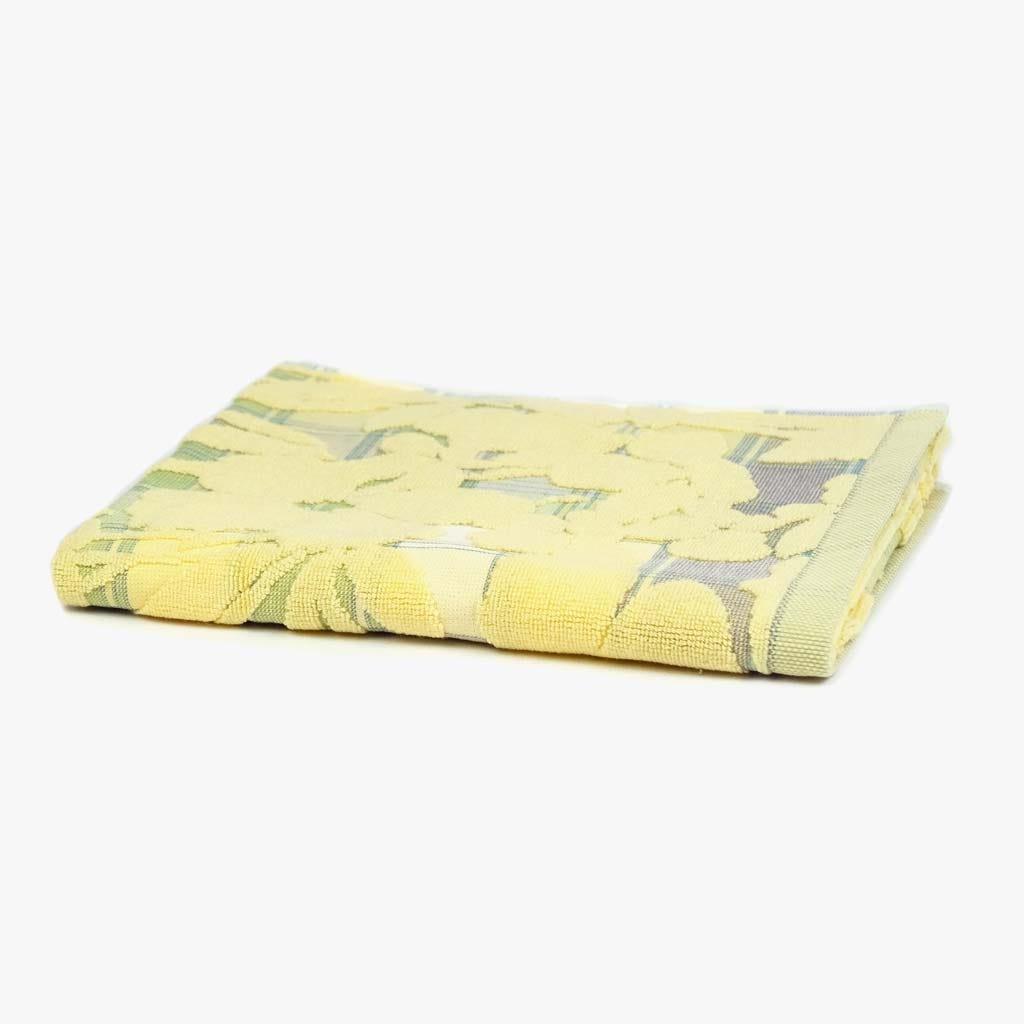 Toalha de Banho Flores/Xadrez Amarelo 50x90 cm