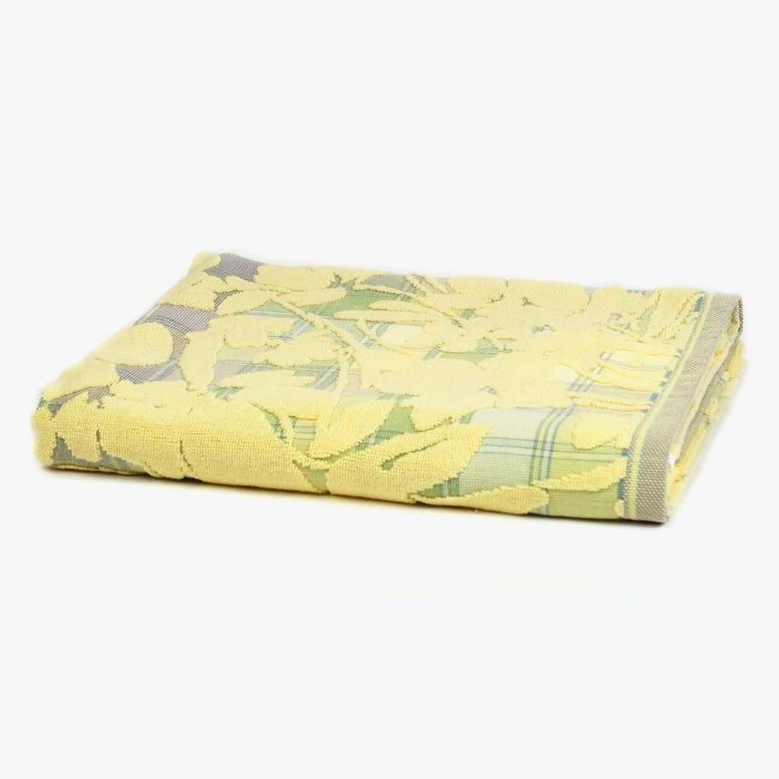 Toalha de Banho Flores/Xadrez Amarelo 90x150 cm