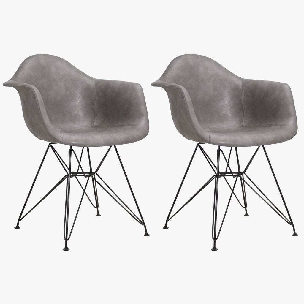 Cadeira Ray Cinza 64x64,5x81 cm (conjunto 2)