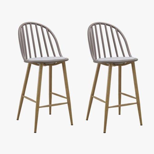 Cadeira alta Riga Cinza 44x48,5x99,5 cm (conjunto 2)