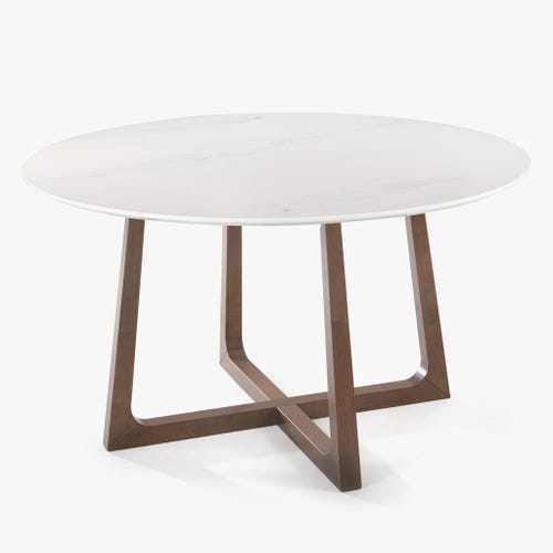 Mesa de Jantar efeito Mármore Branco D:135x75 cm