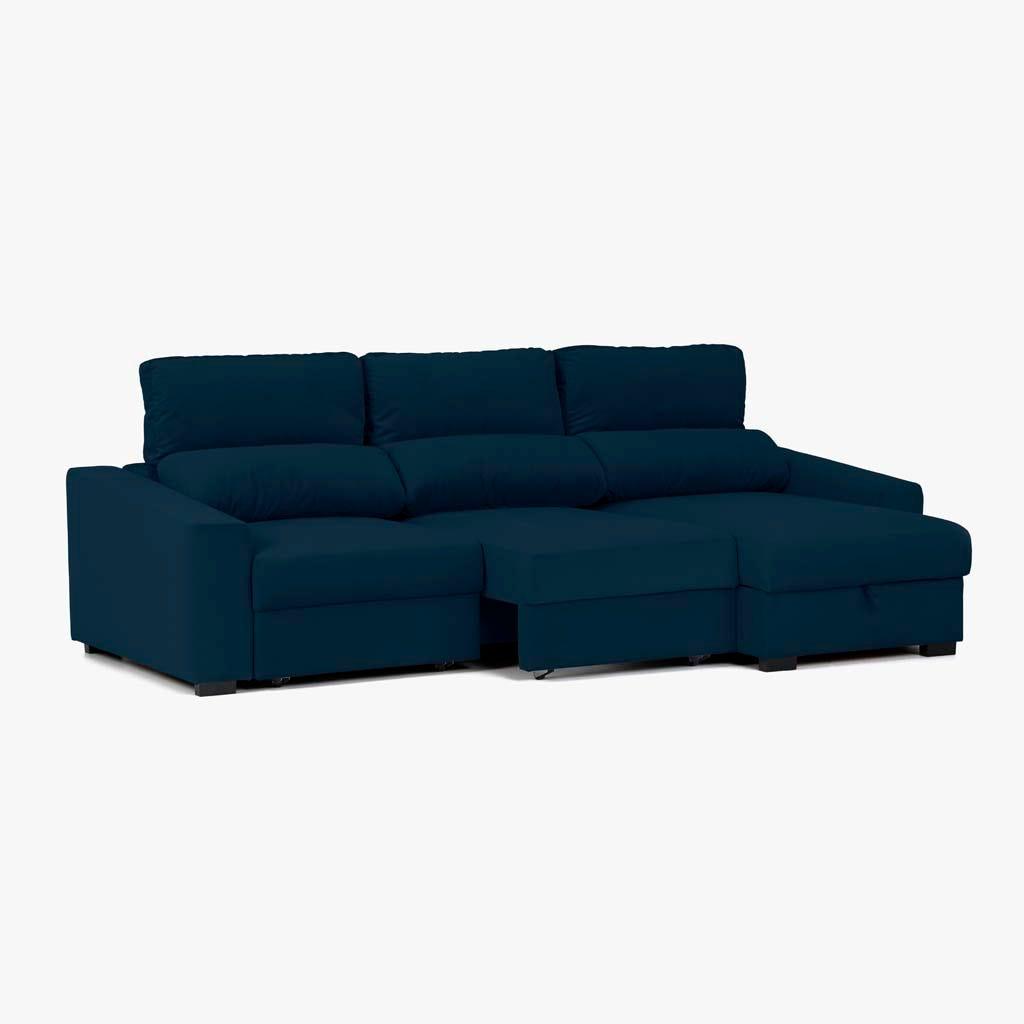 Sofá com Chaise Longue Ruffalo Azul