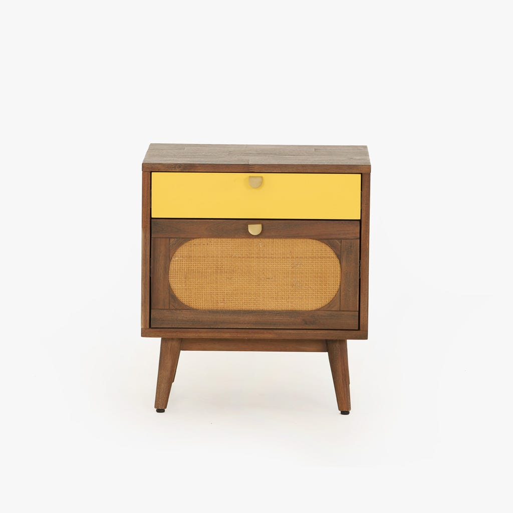 Mesa de cabeceira Florida Amarelo 50x40x55 cm