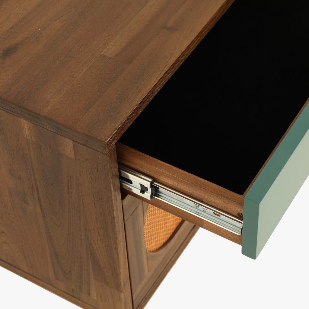 Mesa de cabeceira Florida Verde 50x40x55 cm