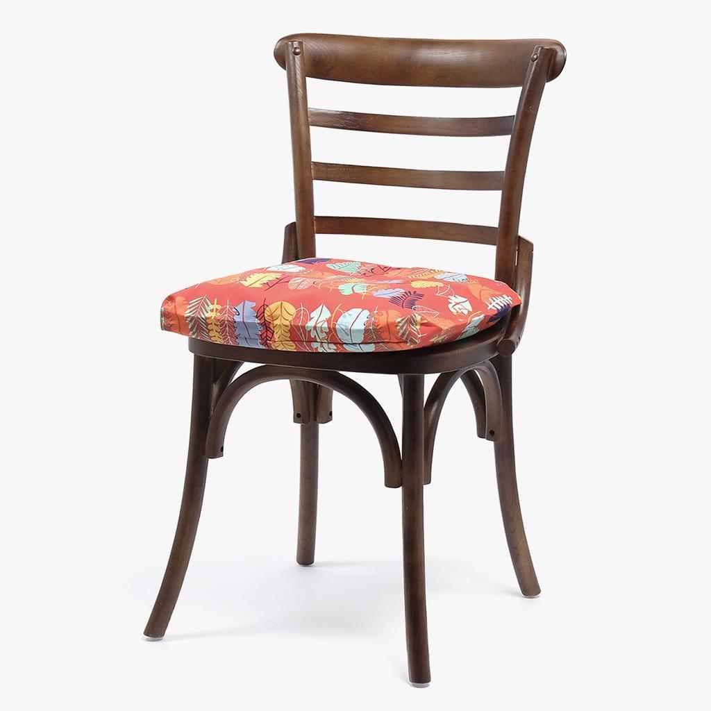 Capa de Almofada para Cadeira Folhas Vermelho 40x40 cm