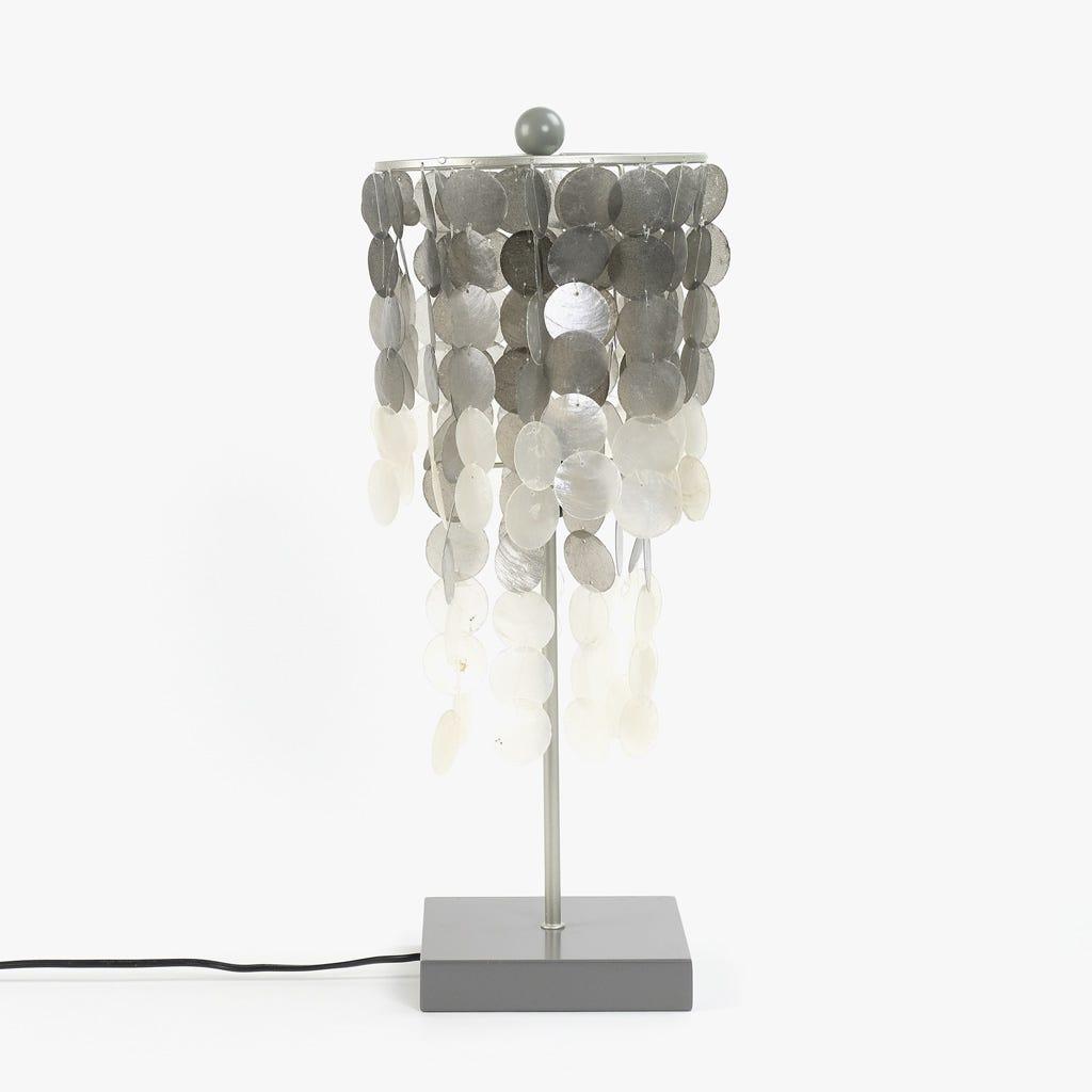 Candeeiro de Mesa Conchas Prata 25 cm