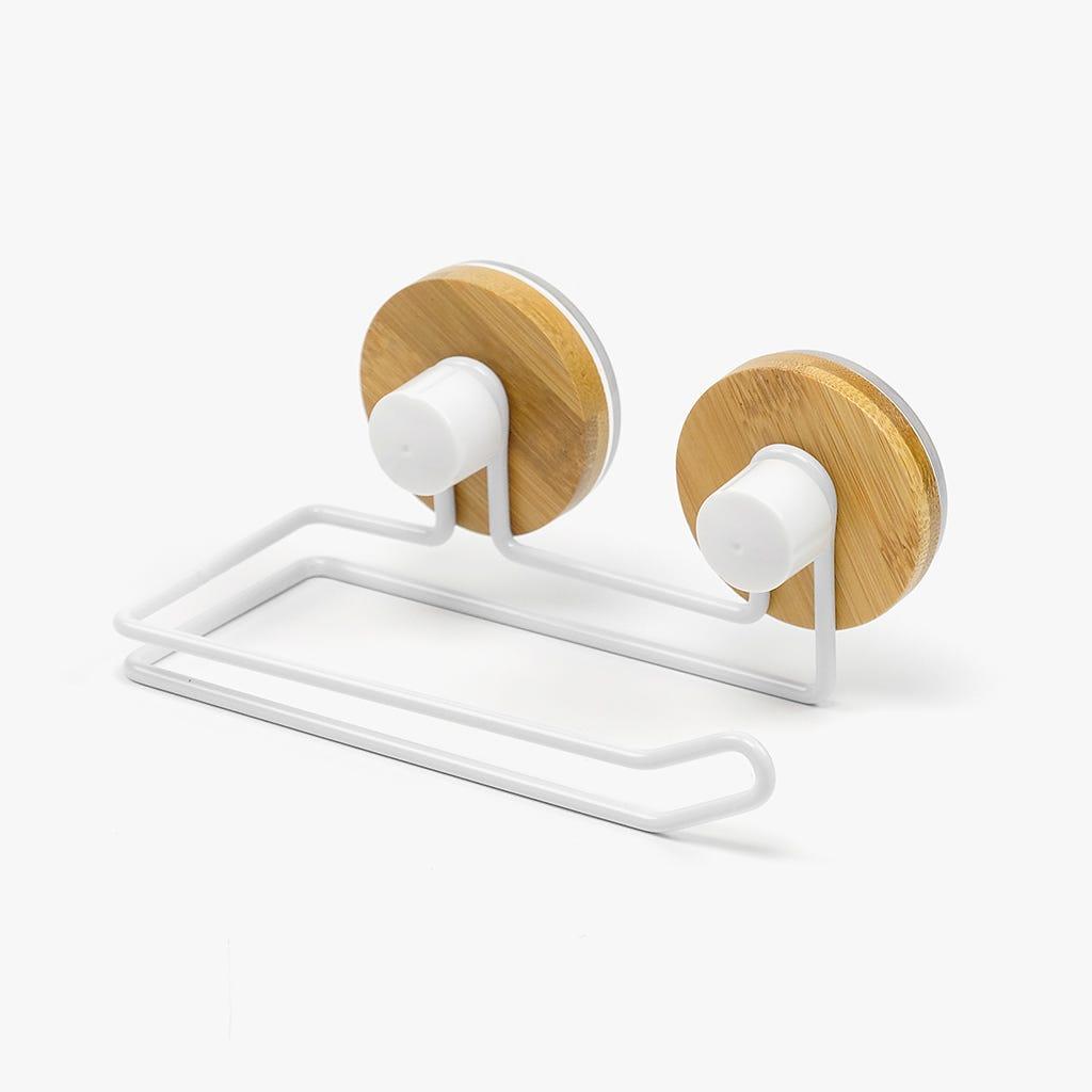 Suporte Rolo WC Branco + Bambu 16 cm