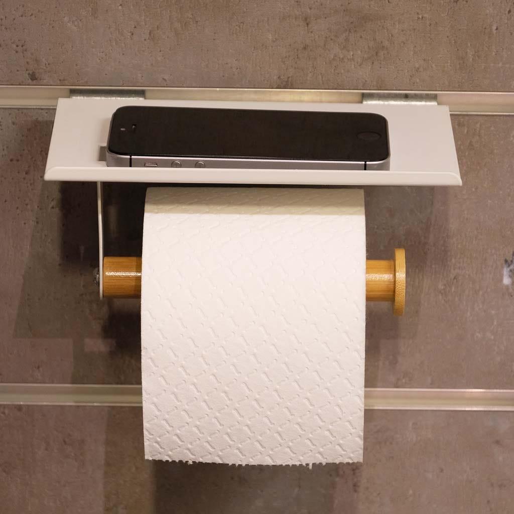 Suporte Rolo WC comPrateleira Branco