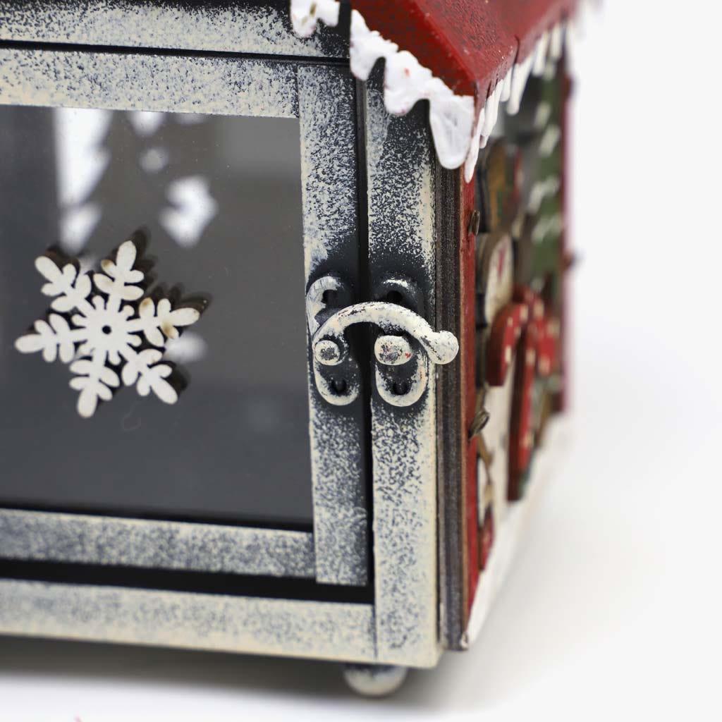 Lanterna Boneco de Neve Vermelho 14x13x21 cm