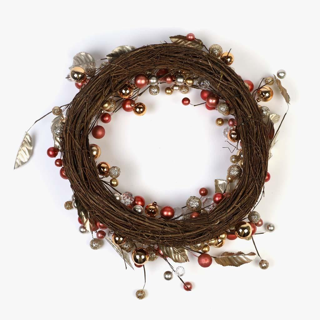 Coroa Bagas Rosa e Dourado 55 cm