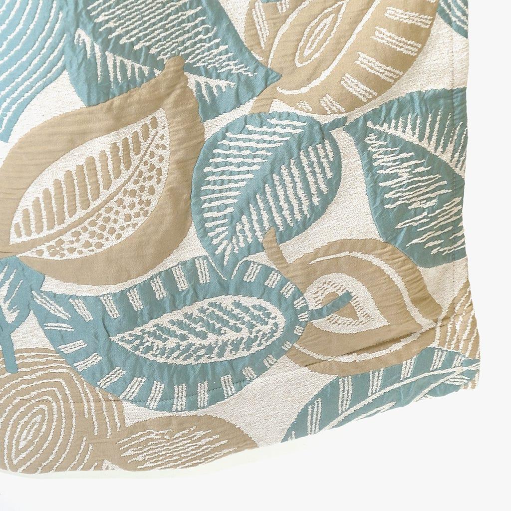 Cortinado Stella Folha Natural e Turquesa 140x270 cm