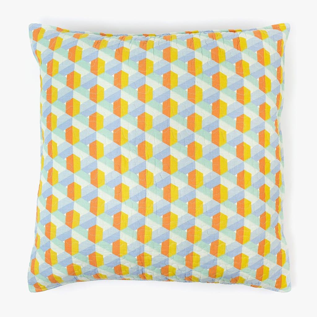 Capa de Almofada Hexagonos Amarelo 60x60 cm
