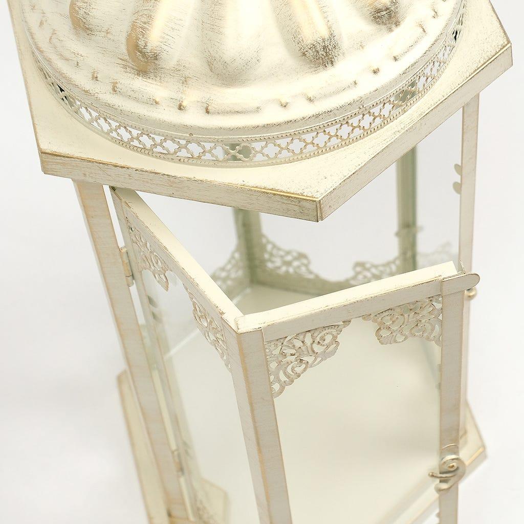 Lanterna Hexagonal Bege 23x20x51 cm