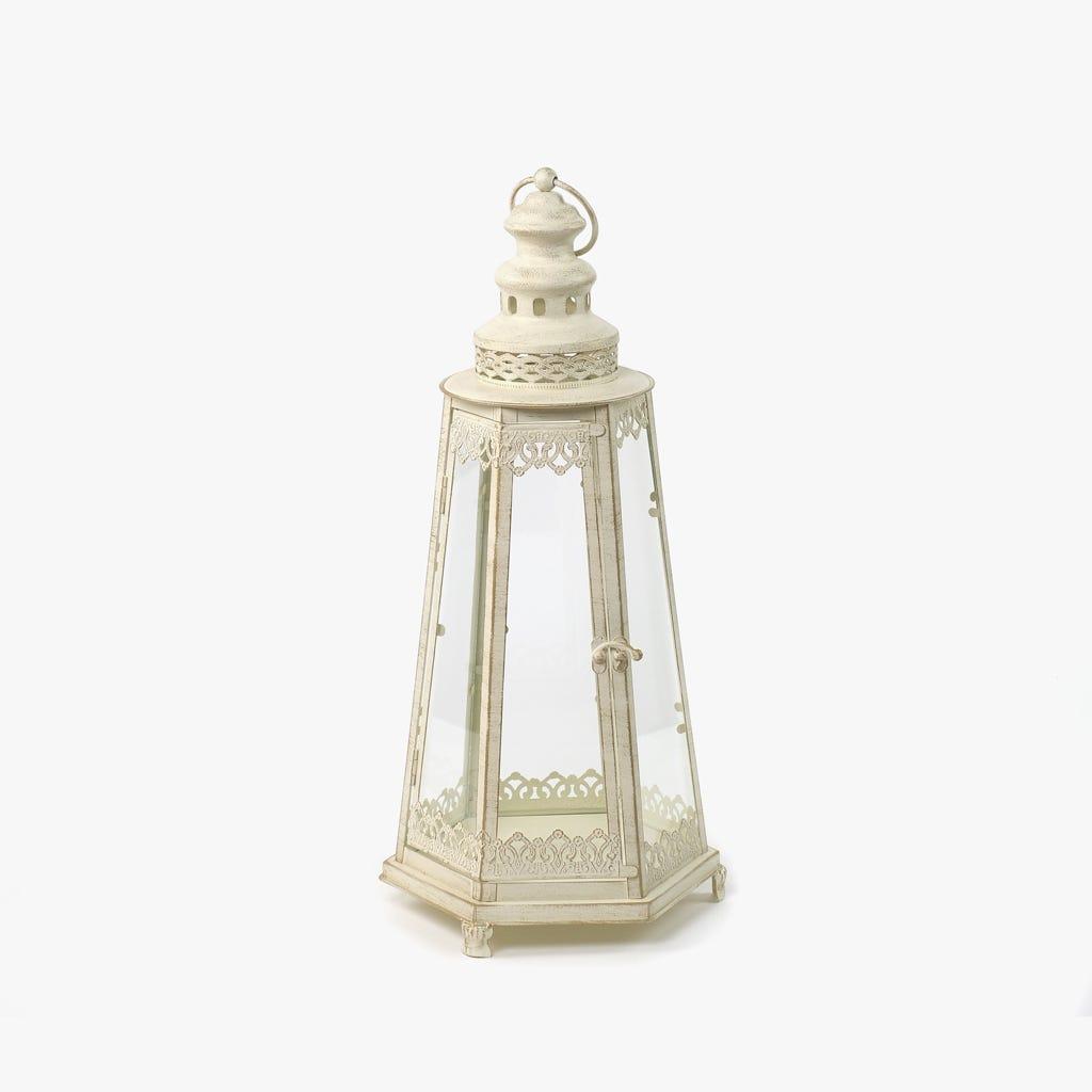 Lanterna Hexagonal Branca 24x22x51 cm