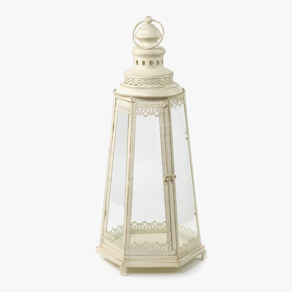 Lanterna Hexagonal Branca 28x25x62 cm
