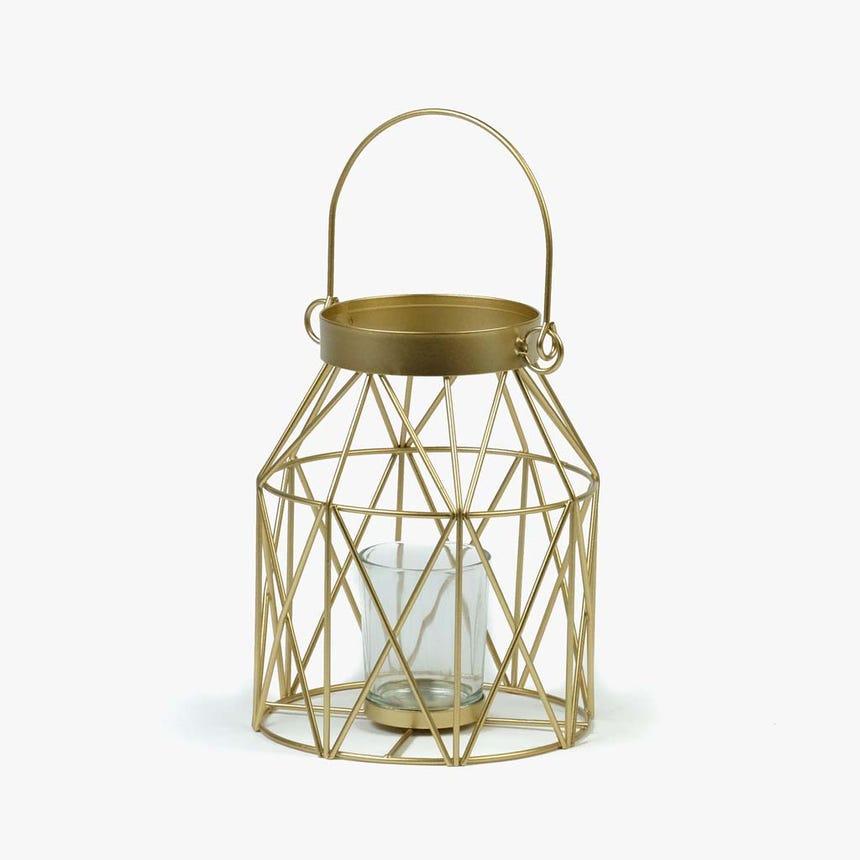 Lanterna Triângulos ouro14x17 cm