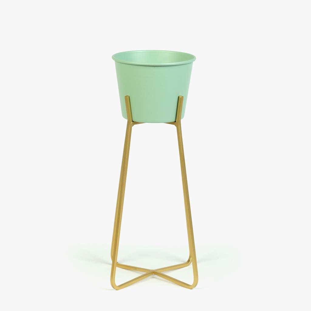 Cachepot Verde e Dourado18x34 cm