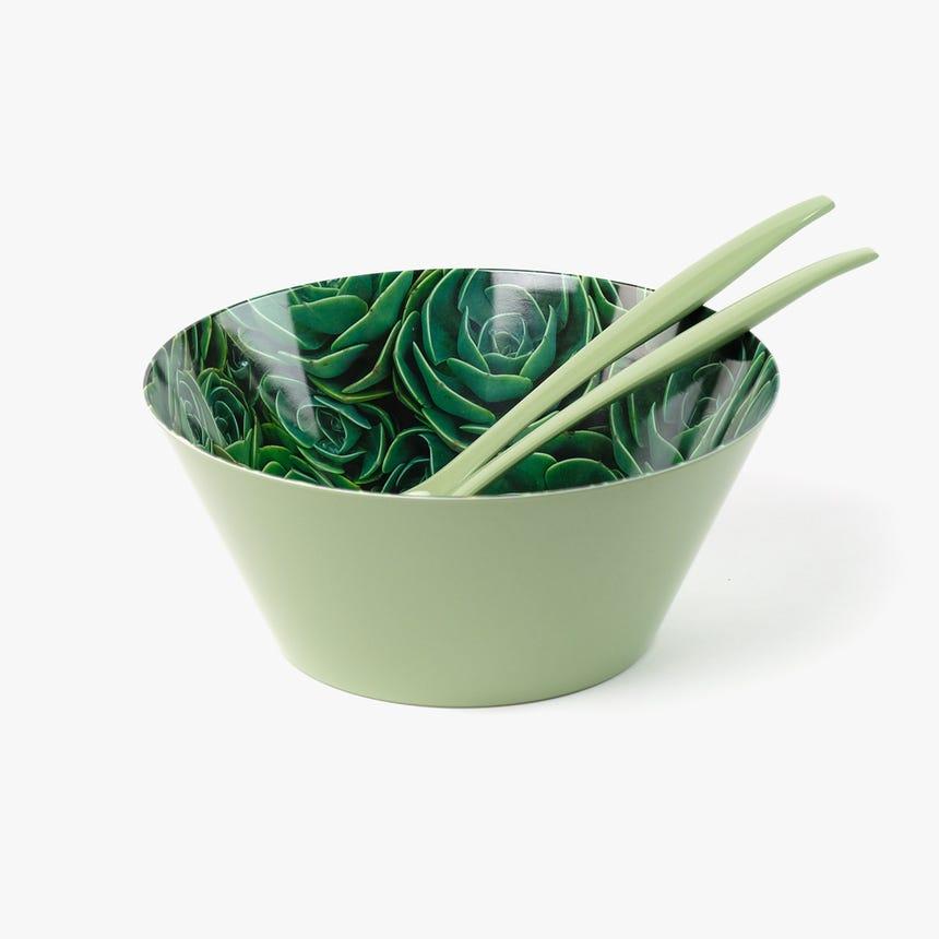 Saladeira + Talheres para salada Cactus