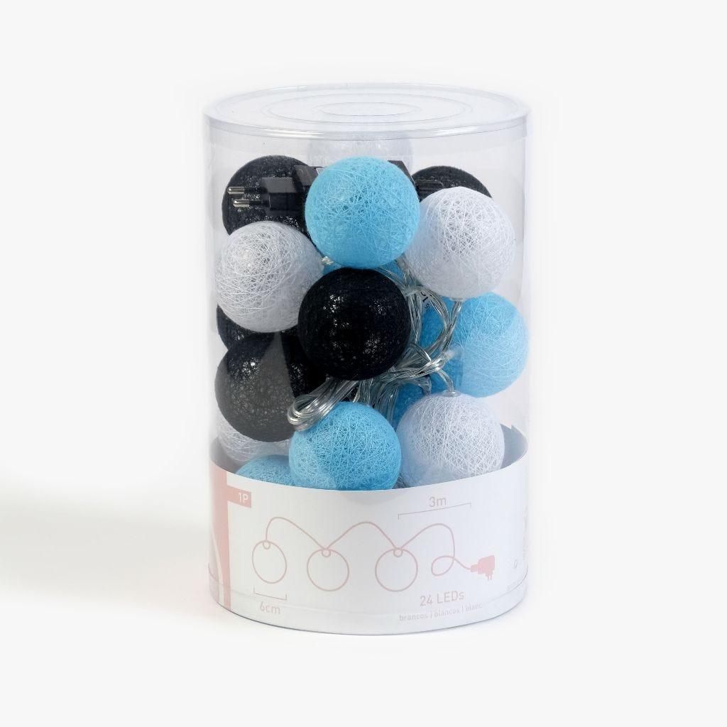 24LEDs Bolas Branco, Azul e Preto