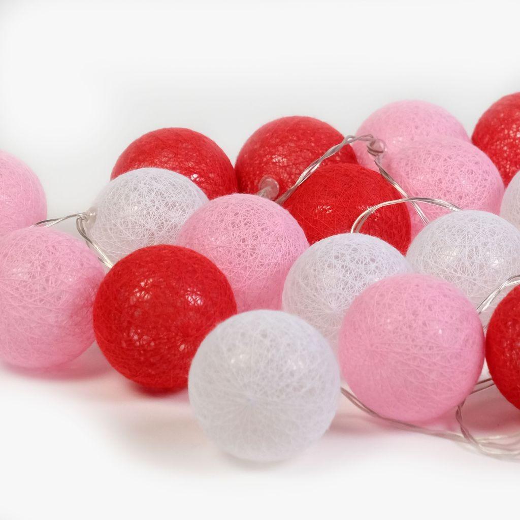 24LEDs Bolas Branco, Rosa e Vermelho