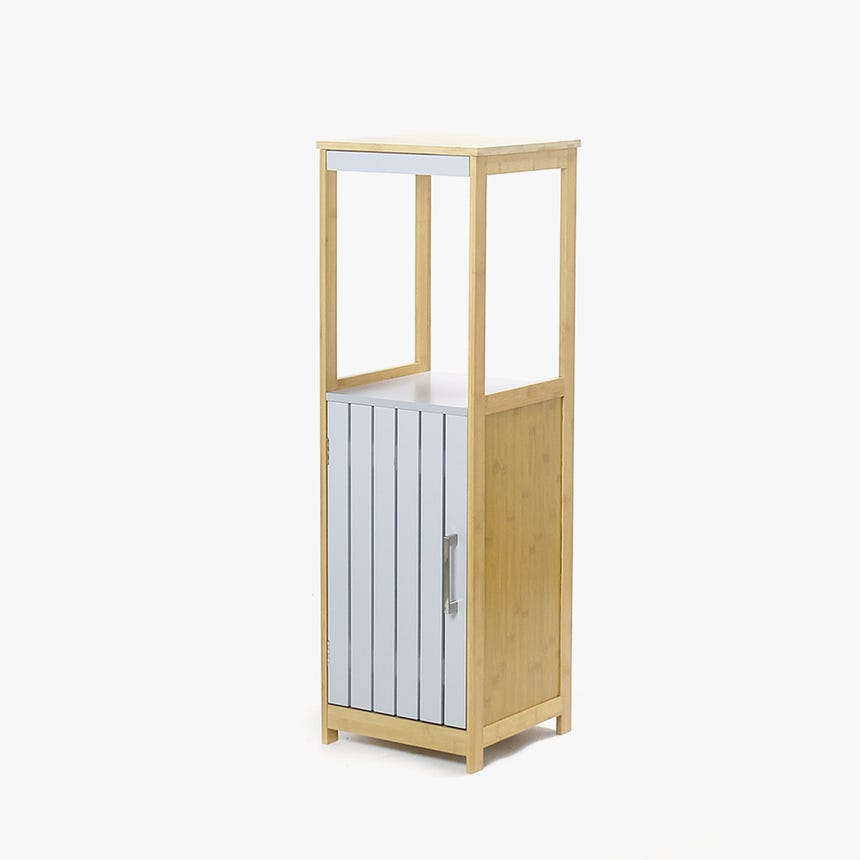 Armário Bambu comPrateleira Cinza 96 cm