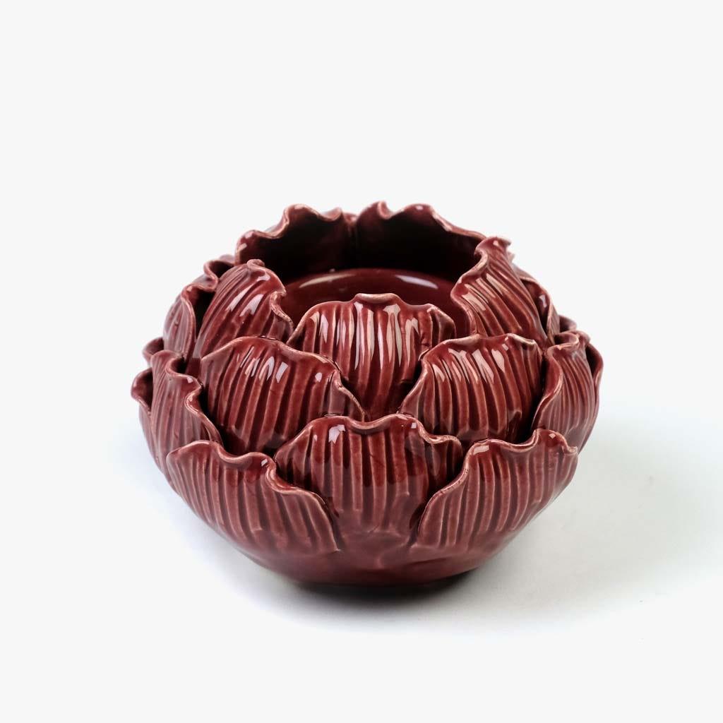 Castiçal Flor vermelho11,6x8 cm