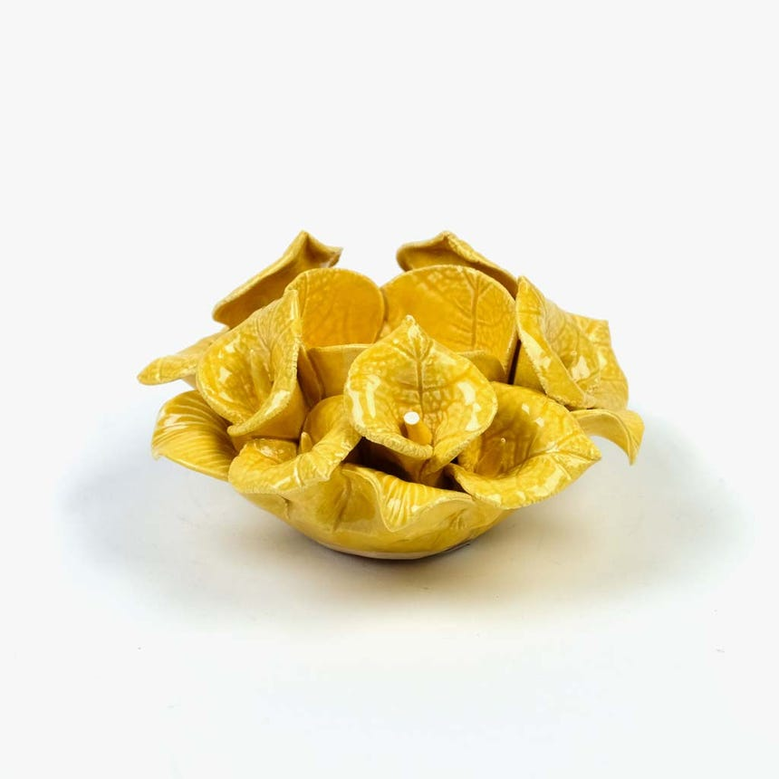 Castiçal Flor amarelo10,3x6,5 cm