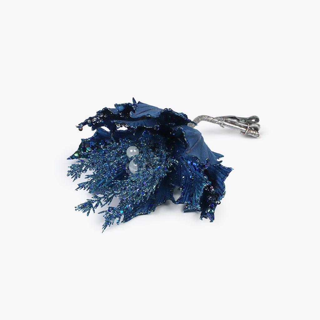Poinsettia Clip Azul 24 cm