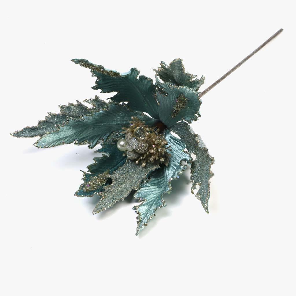 Poinsettia Glitter Azul 46 cm