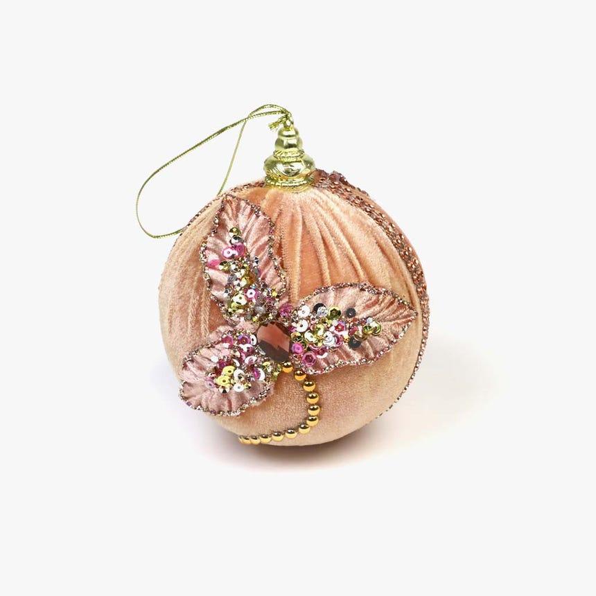 Bola de Natal Veludo Rosa
