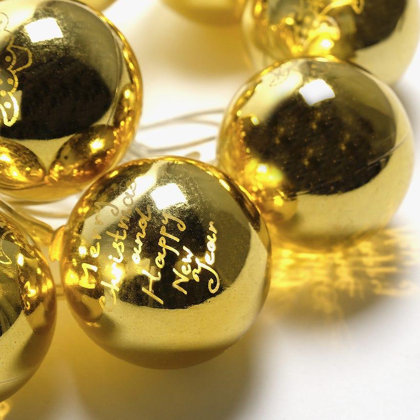 Luzes de Natal Bola 10 LED Dourada