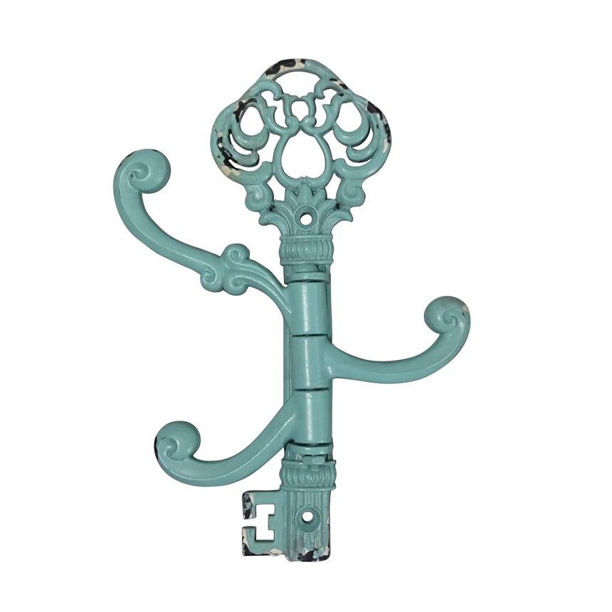Cabide de Parede Chave com 3 ganchos Azul